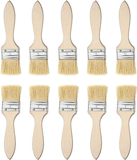 10 Piezas Madera Cepillo de Pintura, Brochas para Pintar, Cepillo de Barbacoa, Cepillo de Fibra Natural - Aptas para Pinturas al Óleo, Acrílica y ...