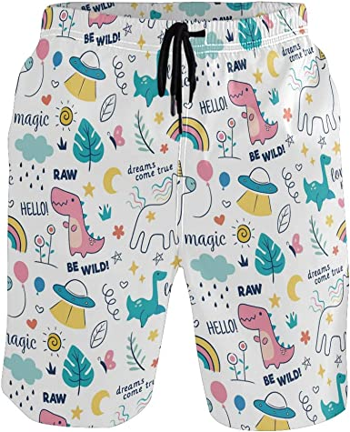 Unicorn Mens Beach Board Shorts Quick Dry Summer Casual Swimming Soft Fabric with Pocket