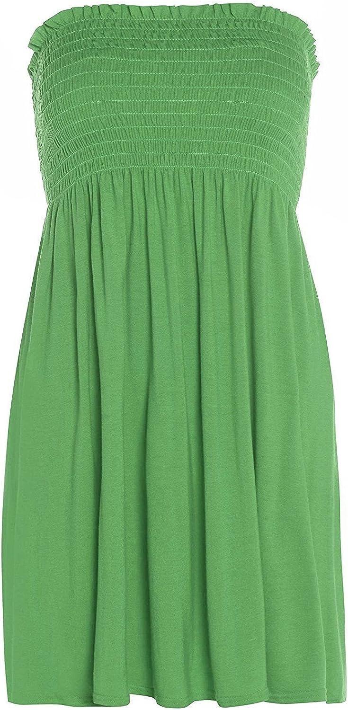 The Celebrity Fashion Womens Strapless Flared Smoken Sheering Boob Tube Bandeau Top Shirred Summer Dress Jade Green - Stretch Boob Tube Baggy T Shirt