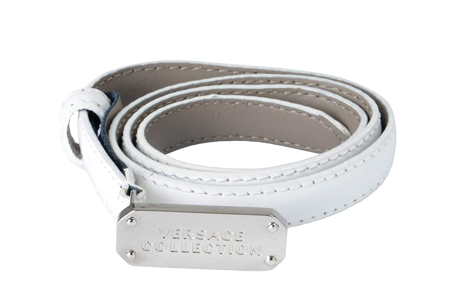 Versace Collection 100% Leather White Women's Belt US 65 IT 80