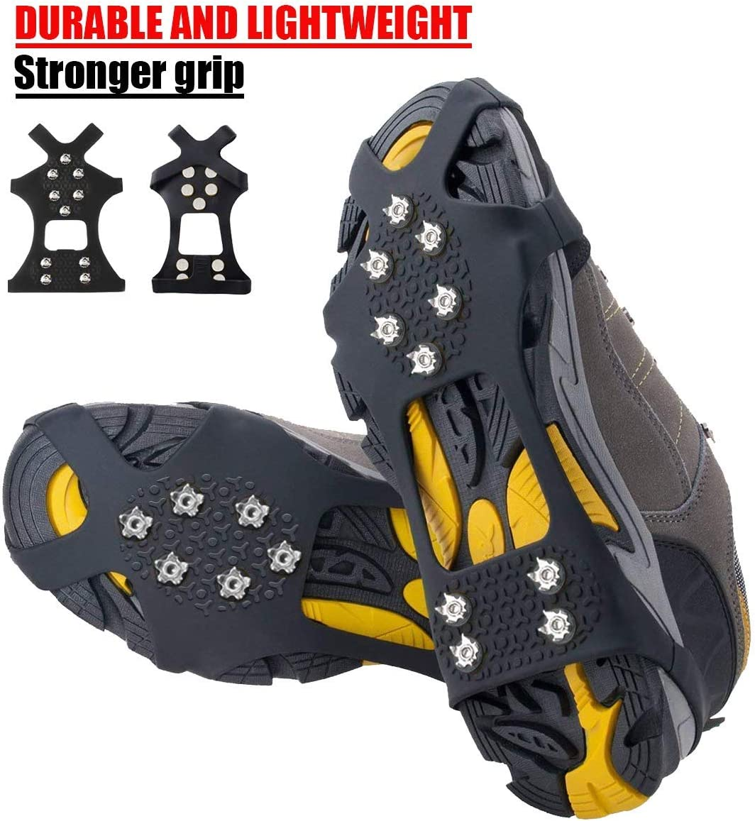 Pozlle Ice Grips,Updated VersionIce & Snow Grips Cleat Over Shoe/Boot,Traction Cleat Rubber Spikes Anti Slip 10 Steel Studs Crampons Slip-on Stretch Footwear