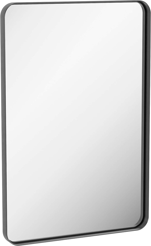 ZEEK 24x36 Inch Black Wall Mirror Thin Metal Edge Large Bathroom Mirror Aluminum Rectangular Frame Decor Vanity Mirror, Entryway, Living Room, Bedroom