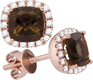 Amazon Com Brandy Smoky Quartz Chocolate Brown White Diamond 14k Rose Gold Cushion Halo Stud Earrings 2 1 6 Ctw Jewelry