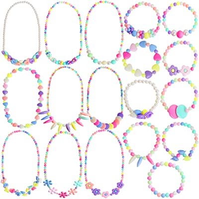 Outee 18 Pcs Toddler Costume Jewelry Princess Necklace Bracelet Girls Play Jewelry Set for Dress Up Pretend Play Jewelry Kit Party Favors: Toys & Games