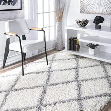 nuLOOM Cozy Soft and Plush Diamond Trellis Shag Area Rug, White, 5' 3  x 7' 6
