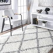 nuLOOM Cozy Soft and Plush Diamond Trellis Shag Area Rug, White, 7' 10  x 10'