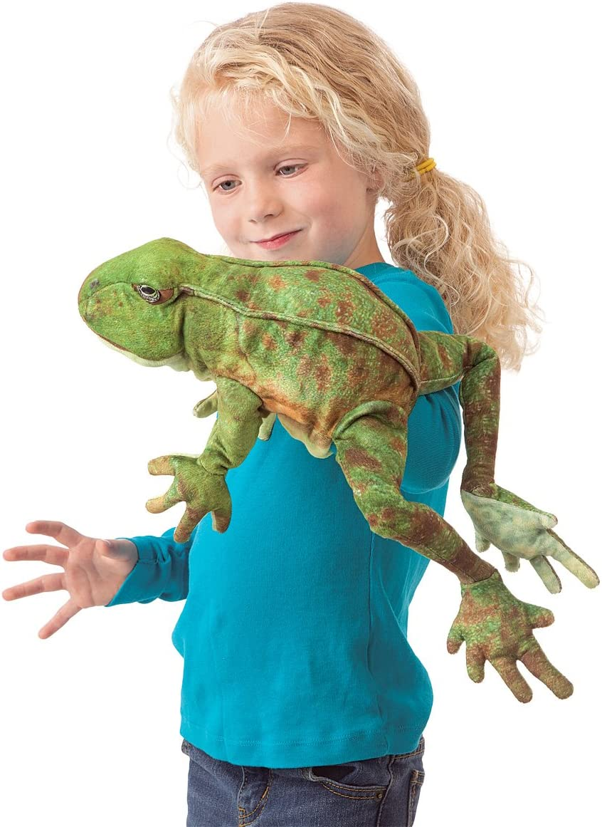8 Folkmanis Jumping Frog Hand Puppet Green//Spotted Brown