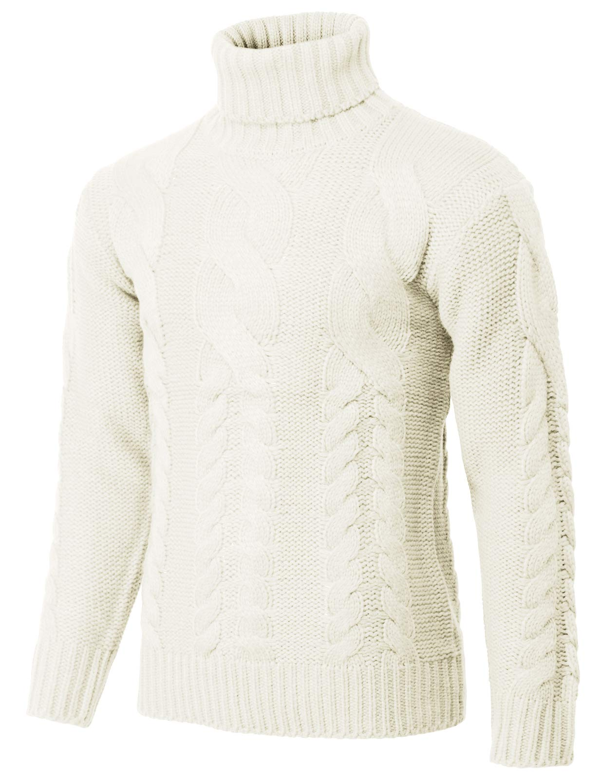 H2H Mens Casual Slim Fit Turtleneck Pullover Sweaters Knitted Long Sleeve Twisted Ivory US M/Asia L (KMOSWL250)