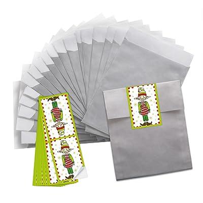 10petites Silberne Lutin motifs Noël papier Sachets (13x 18cm) + 10Petites Rouge Blanc banderolen verte de Noël autocollant pour wichteln (5x 15cm) (14295) drôles d'emballag