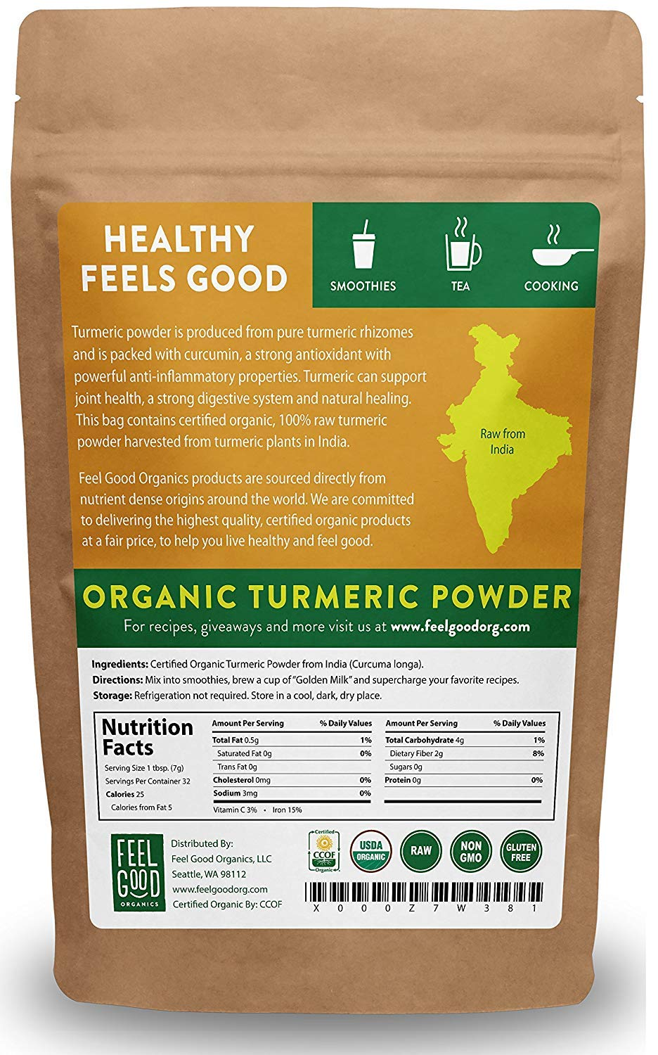 Organic Turmeric Root Powder w/Curcumin | Lab Tested for Purity | 100% Raw from India | 8oz Bag by Feel Good Organics by Feel Good Organics (Image #1)