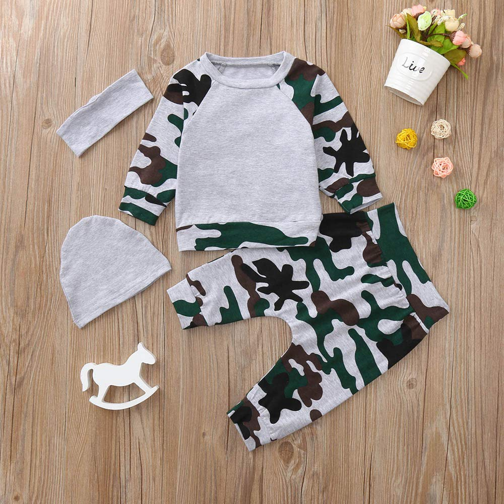 DIGOOD Toddler Baby Boys 4Pcs Outfits Winter Clothes,Camouflage Long Sleeve T-Shirt Tops+Pants+Hat+Headband Sets