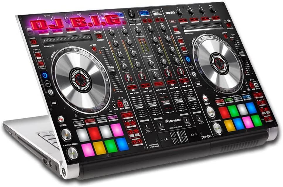 DJ Turn Tables Music Personalized LAPTOP Skin Decal Vinyl Sticker ANY NAME L734, 15.6""