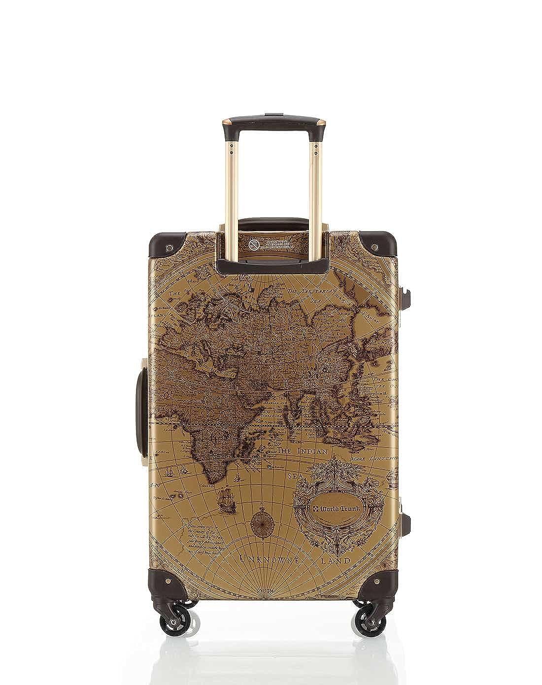 3d6f3c0a27 Amazon | [ワールドトランク] スーツケース 軽量 保証付 55L 60 cm 4.4kg ベージュ地図柄 | WORLD  TRUNK(ワールド トランク) | スーツケース