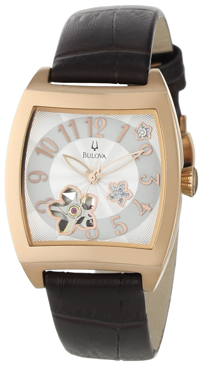 Amazon.com: Bulova Women's 97P101 BVA Series Floral Aperture Dial Watch:  Bulova: Watches