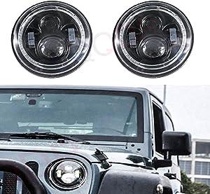 "LQQDP 2pcs DOT 7"" Round H6024/H6017/6015/6014/6012 Conversion Kit LED Halo Angel Eye Projector Headlights Assembly Amber Turn Signal White High/Low Beam DRL Daytime Running Light+H4/H13 Adaptor"