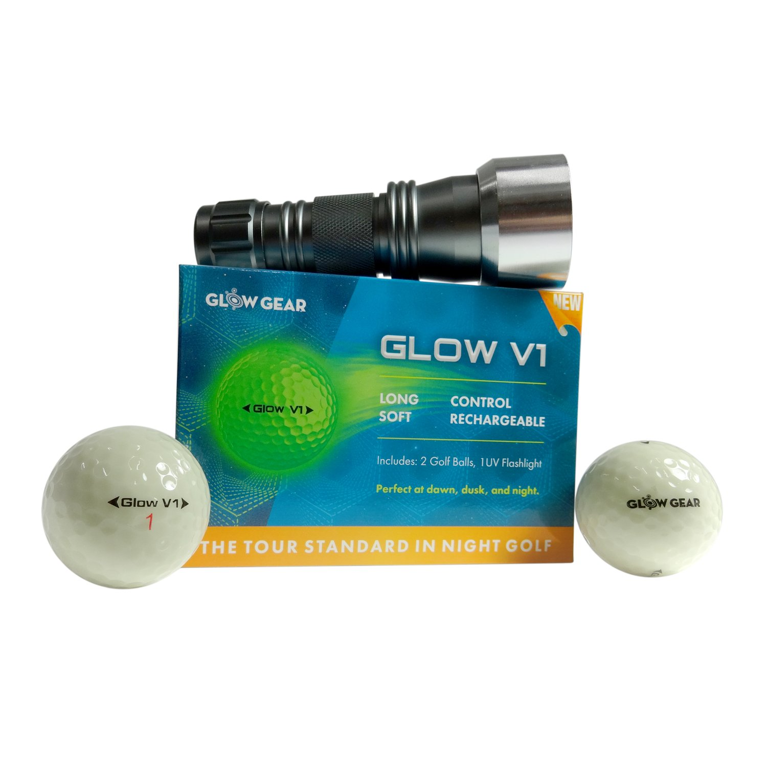 GlowV1 Night Golf Balls - Best Hitting Ultra Bright Glow Golf Ball - Compression Core and Urethane Skin - 2 Count, 6 Count, or 12 Count by GlowGear