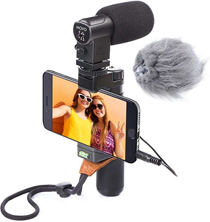 Movo Smartphone dispositivo de vídeo estéreo con micrófono, mango ...