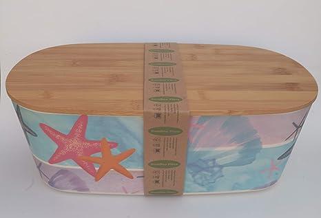 Bio Fibra de Bamb/ú Sin BPA - Recipiente Bamboo Ecologico Grande para Barras Panera Bambu con Tapa Panera de Madera con Tabla de Cortar Eco Caja de Mesa para Guardar Pan Rectangular 35 cm