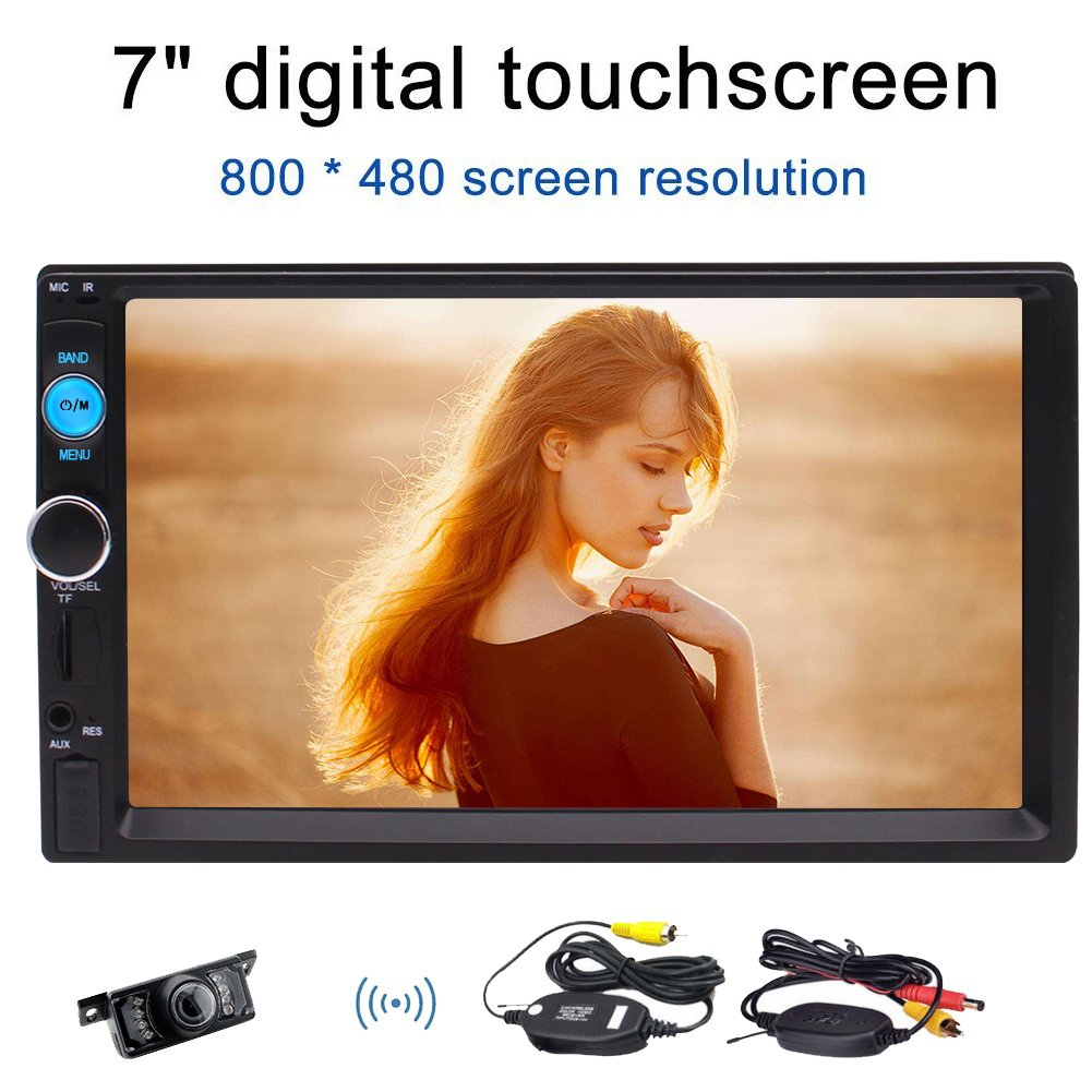 Eincar Bluetooth Double 2 Din Car stereo with Wireless Rear View Camera Support Front USB/TF PORT FM Aux Input 7 inch Universal Digital HD Bluetooth Car Radio MP5 Player Multimedia Radio
