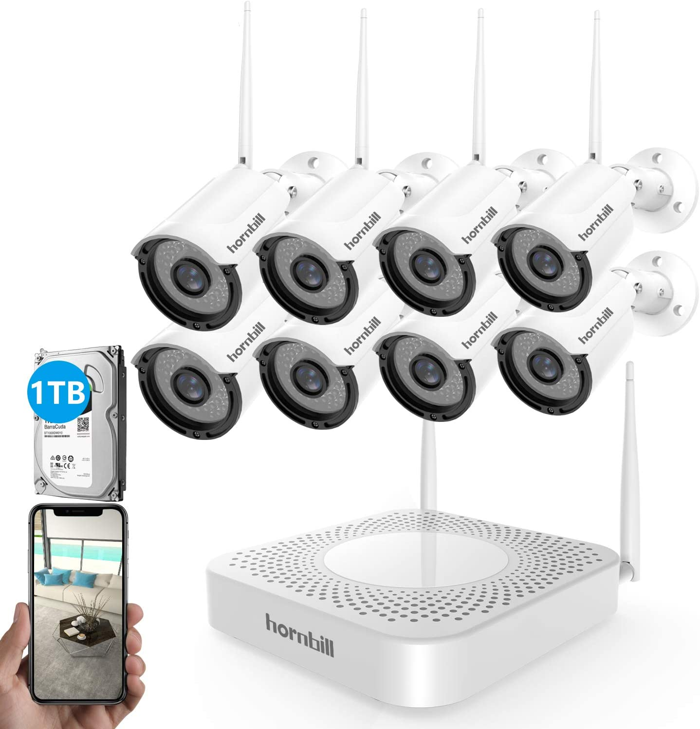 2019 New Security Camera System Wireless,Hornbill 8 Channel 1080P Outdoor Home WiFi Security Surveillance Camera System,8pcs 1.3MP IP Security Camera and 1TB Hard Drive Installed No Monthly Fee
