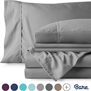 Bare Home 4 Piece 1800 Collection Deep Pocket Bed Sheet Set - Twin Extra Long - Ultra-Soft Hypoallergenic - 1 Extra Pillowcase (Twin XL, Light Grey)