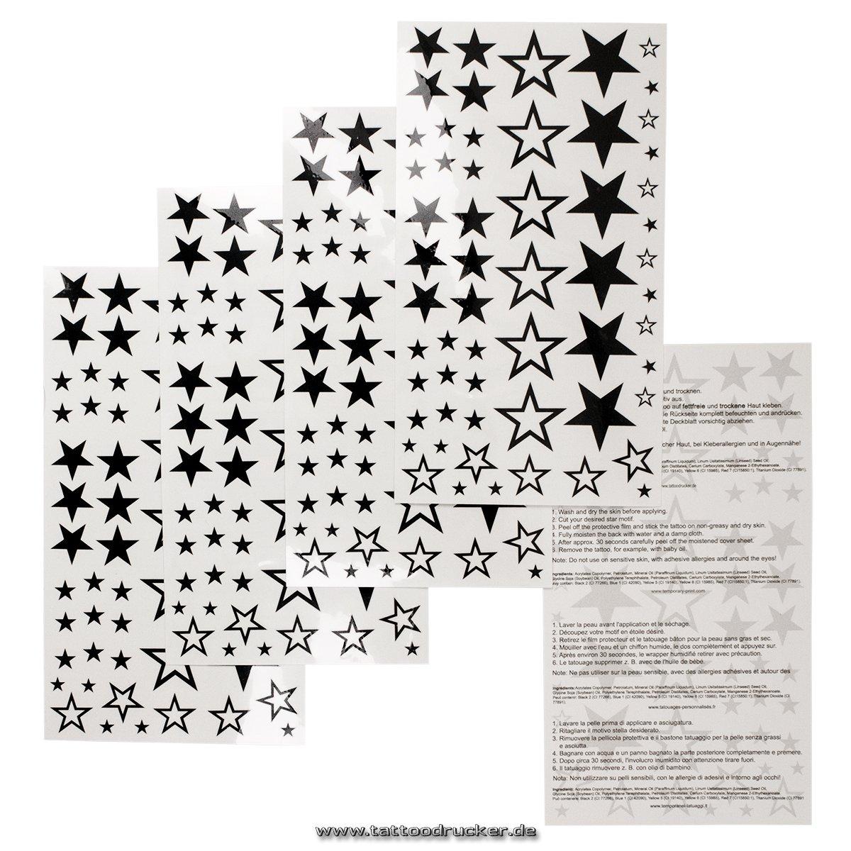 1 x 58 Estrellas tatuajes temporales nueva estrella fija falso hueco de cinco puntas - No China! (2) Tattoodrucker Stern-Karte1