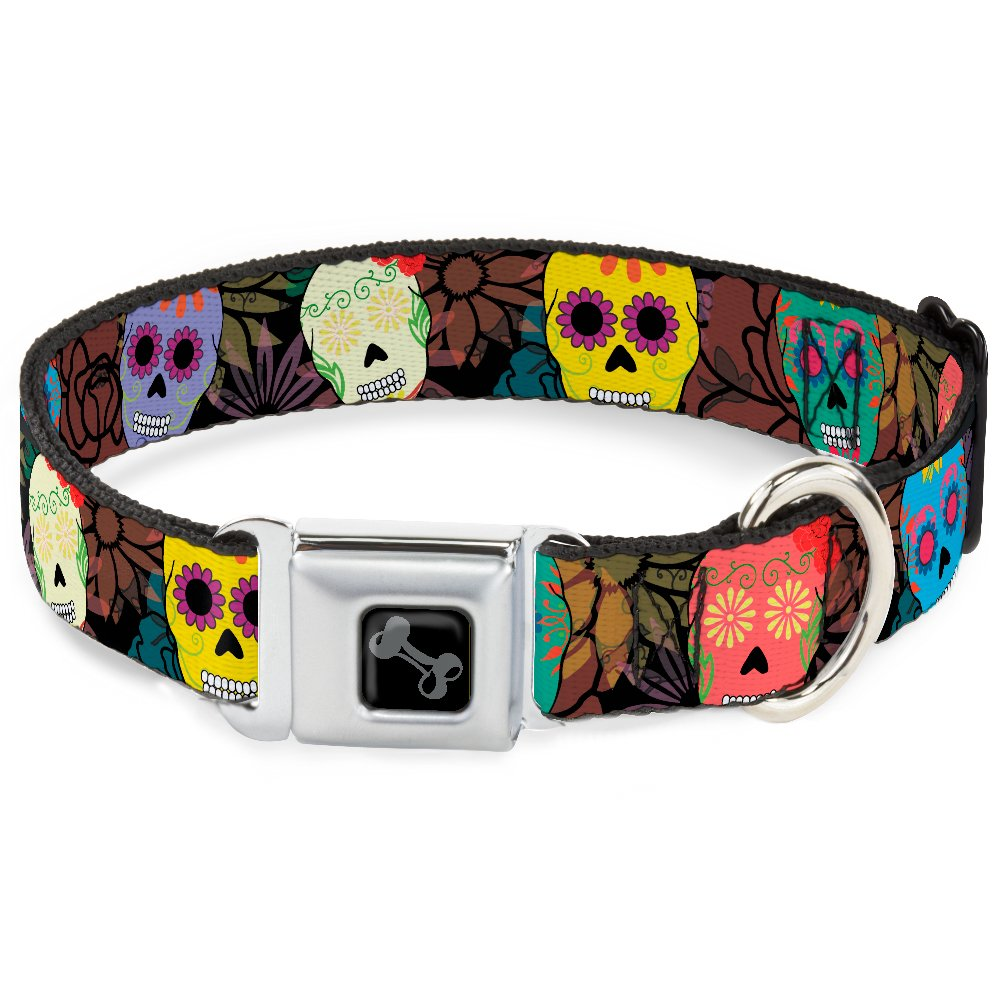 Buckle-Down Seatbelt Buckle Dog Collar Painted Sugar Skulls & Flowers Collage 1  Wide Fits 11-17  Neck Medium