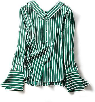 XCXDX Camisa A Rayas Verde con Cuello En V, Monos De Seda De ...