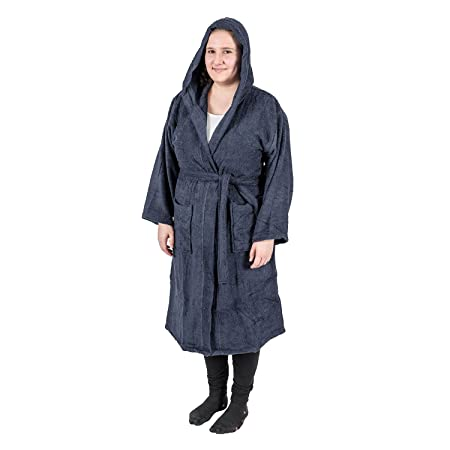 Homescapes Navy Blue Dressing Gown 100% Egyptian Cotton Terry Towelling  Hooded Unisex Bathrobe with Hood 172662df9