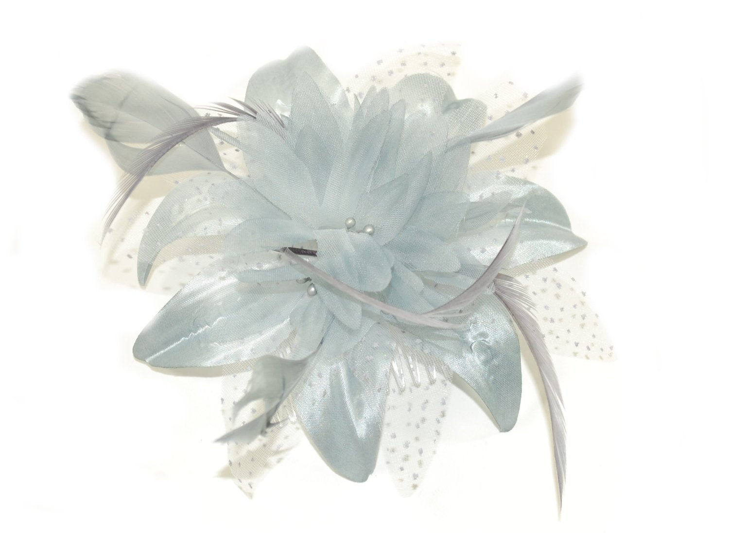 Silver grey chiffon flower and feather fascinator on comb. Ideal for  weddings 5597ae10009