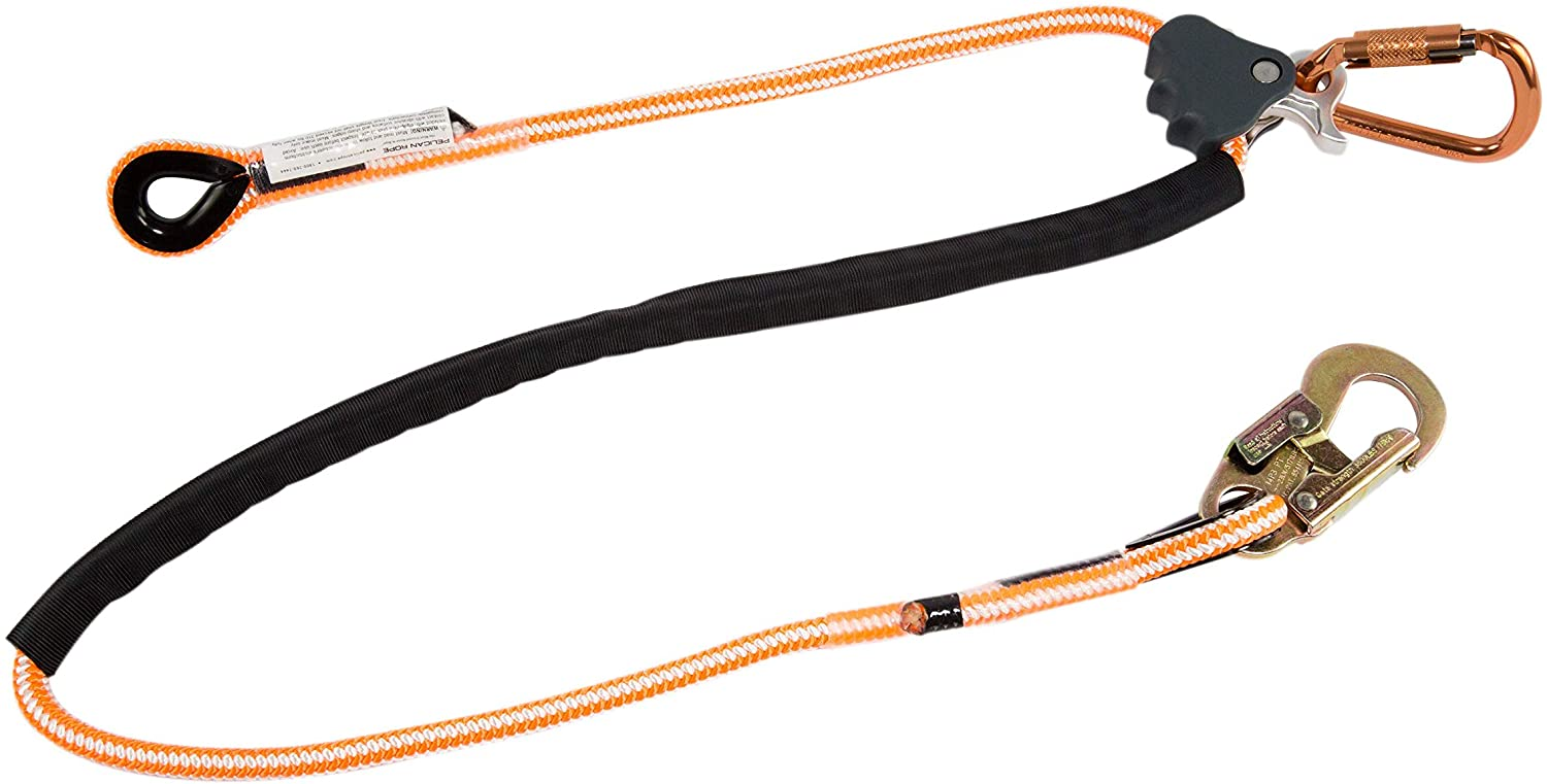 Pelican Rope Positioning Lanyard with Steel Snap Hook (1/2 inch x 8 feet) – Polyester Rope, Adjustable Lanyard, for Fall Protection, Arborist, Tree Climbers - -