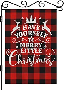 AOYEGO Buffalo Merry Christmas Burlap Garden Flag Double Sided Premium Fabric Red Black Plaids Reindeer Outdoor Decoration Banner for Yard Lawn 12.5