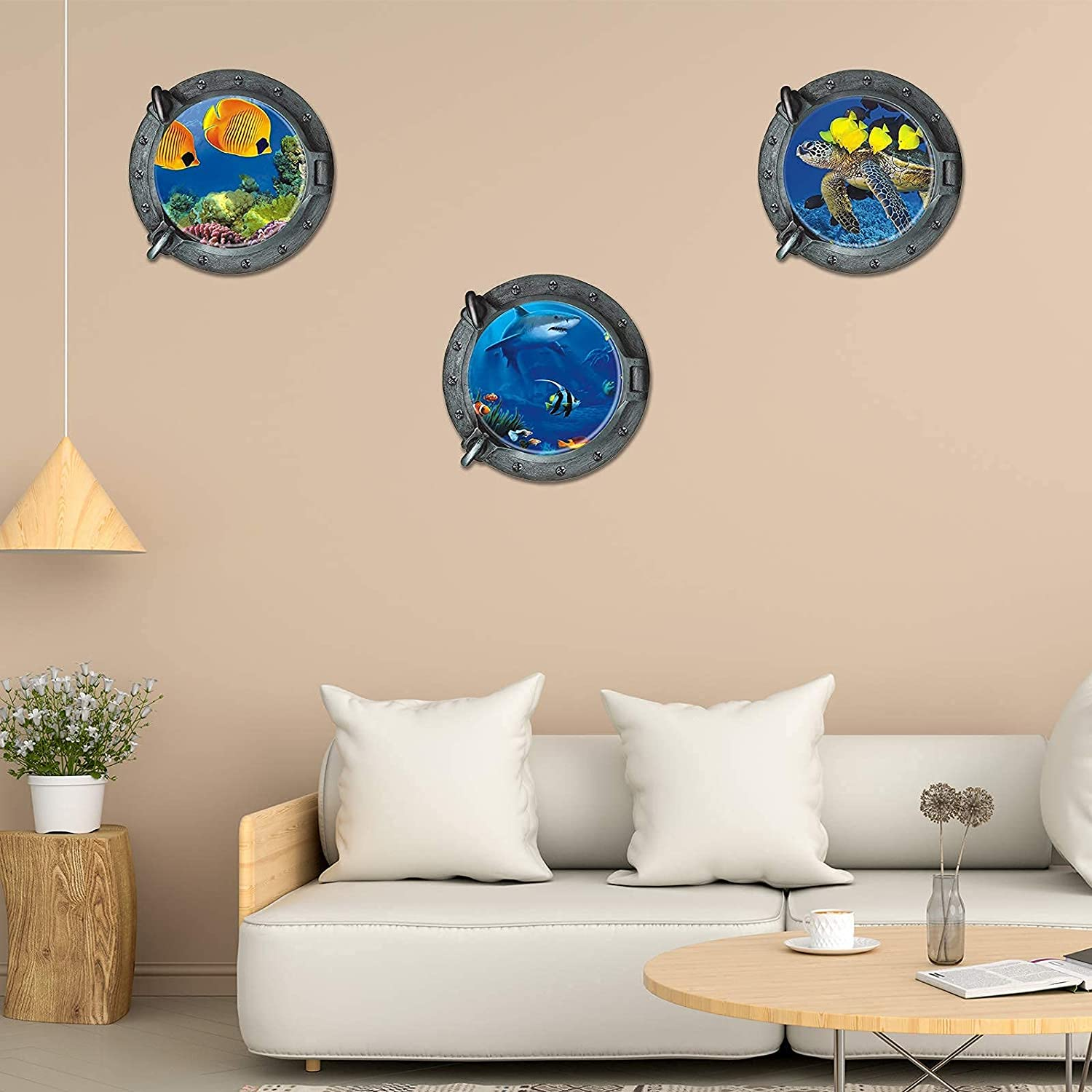 3PCS Ocean World Wall Stickers, DILIBRA Whale Fish Turtle Shark Porthole 3D Unde The Sea Life Wall Decal, Peel and Stick Removabl Wall Decor for Kids Nursery Bedroom Living Room Decoration