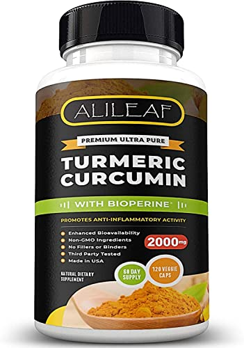 Premium Turmeric Curcumin with Bioperine 2000mg Highest Potency – 120 Capsules – Joint Healthy Inflammatory Support 95 Standardized Curcuminoids with Black Pepper – Curcuma Pills 250X More Potent