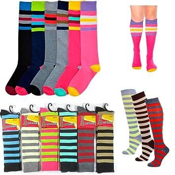 3 par rodilla alta señoras calcetines varios colores rayas Dance para mujer fútbol 9 - 11: Amazon.es: Oficina y papelería