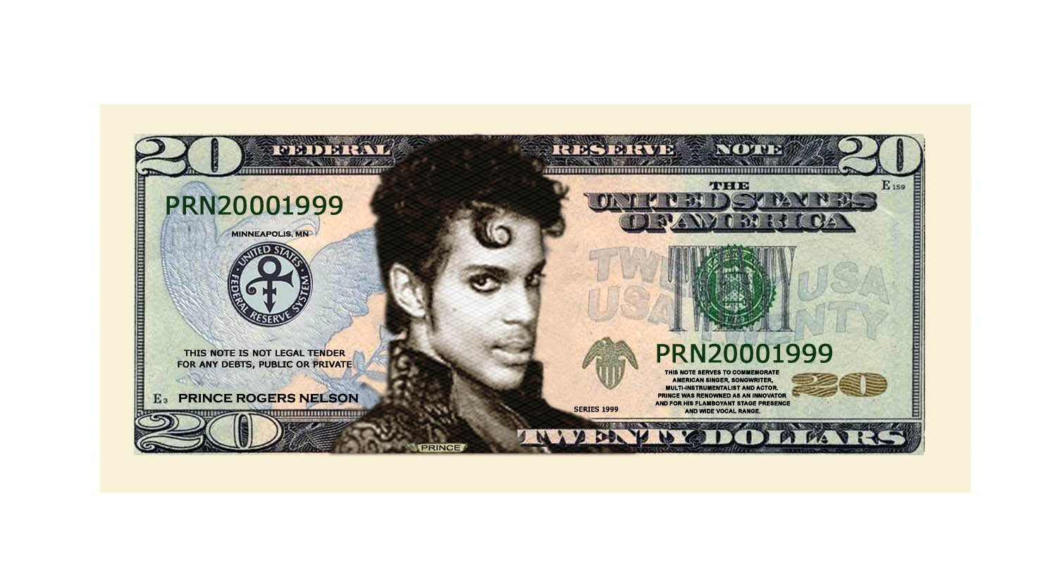 American Art Classics Prince $20.00 Limited Edition Novelty Twenty Dollar Collectible Bills - Pack of 100 - Best Gift Or Keepsake for Lovers of Prince by American Art Classics (Image #1)