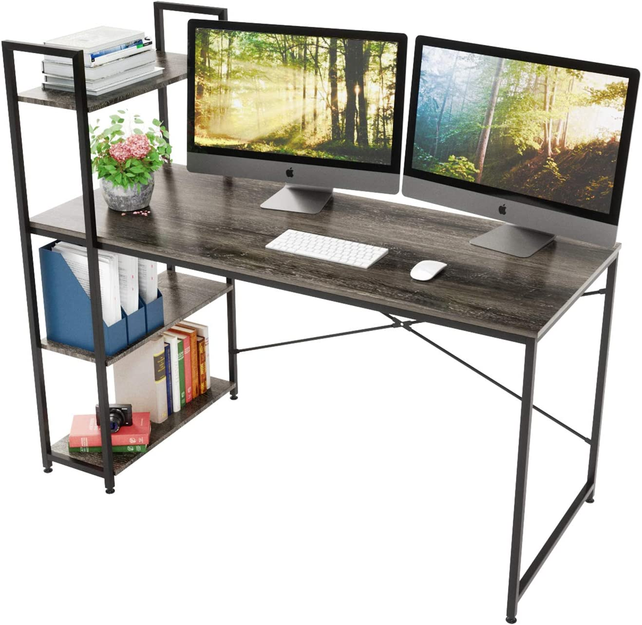 Bestier 55 Inch Computer Desk with Shelves, Modern Writing Desk with Bookshelf PC Desk with Reversible Storage Shelves, Study Corner Desk Writing Table for Home Office Easy Assemble (55 Inch, Grey)