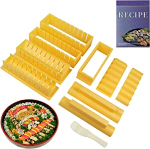Vameritik Sushi Making Kit for Beginners with Sample Recipe, Deluxe Edition Thick DIY Sushi Maker Mold, 3 sets 10 PCS Easy to Use Sushi Kit Tool with Spatula. Rice Roll Maker, Musubi and Oshi Maker.