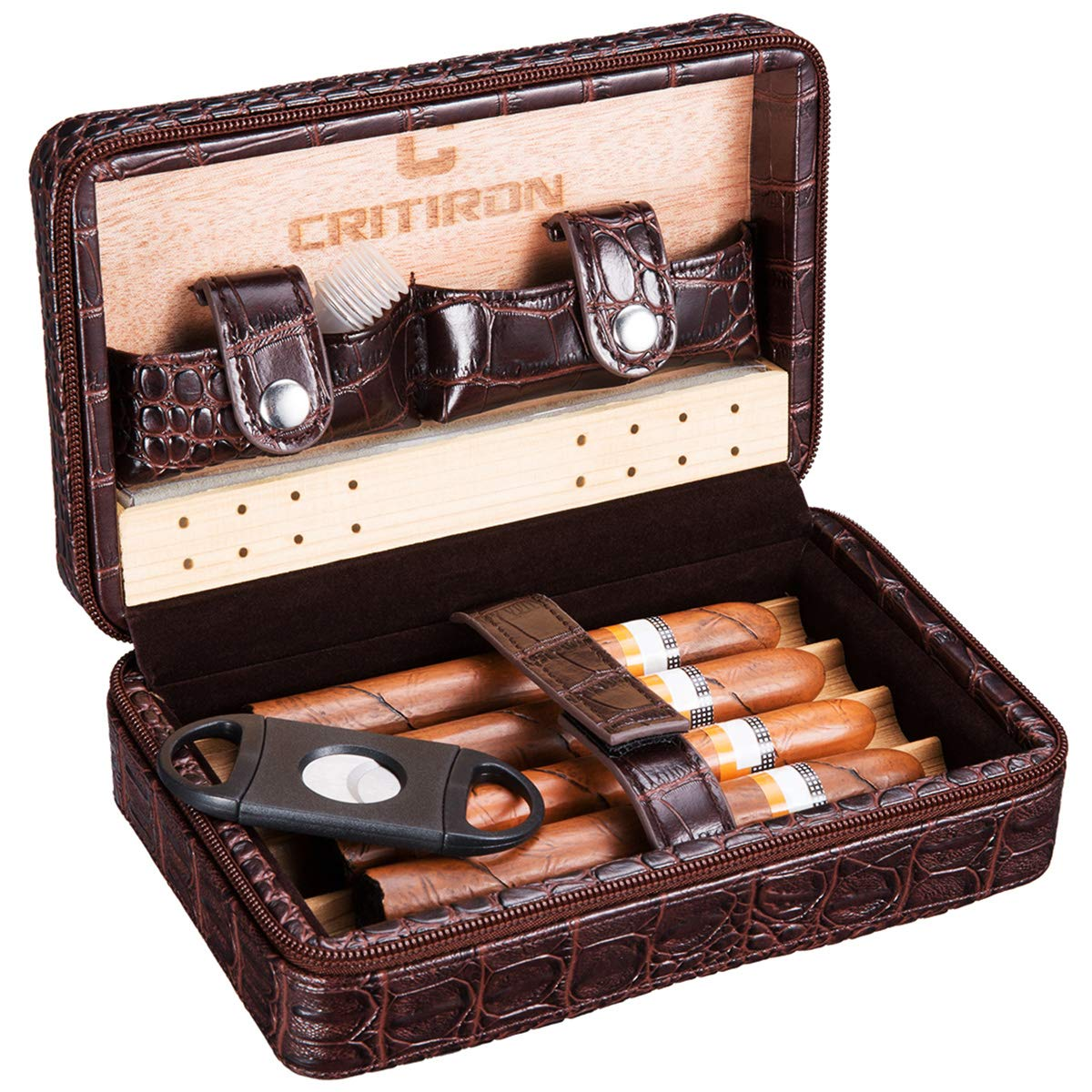 CRITIRON Portable Cigar Case Crocodile Leather Humidor Travel Cigar Cases for Men with Cutter, Dropper, Cedar Wood Lined with Humidifier, Removable Cedar Tray