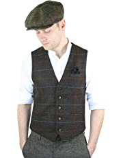Mens Tweed Check Peaky Blinders Waistcoat Gilet Classic Smart Casual Herringbone
