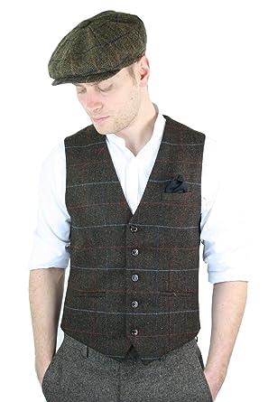 29853492 Mens Tweed Check Peaky Blinders Waistcoat Gilet Classic Smart Casual  Herringbone: Amazon.co.uk: Clothing