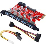 Inateck PCI-E to USB 3.0 5-Port PCI Express Card and 15-Pin Power Connector, Mini PCI-E USB 3.0 Hub Controller Adapter, with Internal USB 3.0 20-PIN Connector - Expand Another Two USB 3.0 Ports - [ Include with A 4pin to 2x15pin Cable + A 15pin to 2x 15pin SATA Y-Cable ]