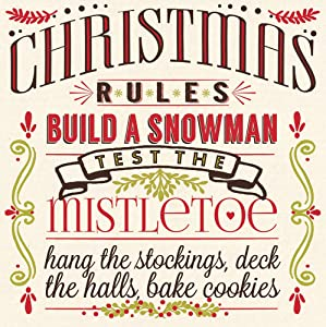 Cypress Home Christmas Rules Paper Cocktail Napkins, 20 count