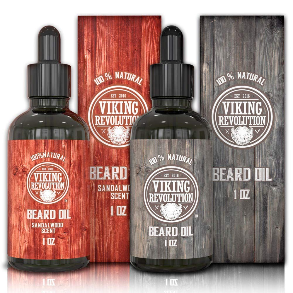 BEST DEAL Beard Oil Conditioner- All Natural Unscented Organic Argan & Jojoba Oils - Promotes Beard Growth - Softens & Strengthens Beards and Mustaches for Men (1 Pack Sandalwood, 1 Pack Unscented) Viking Revolution