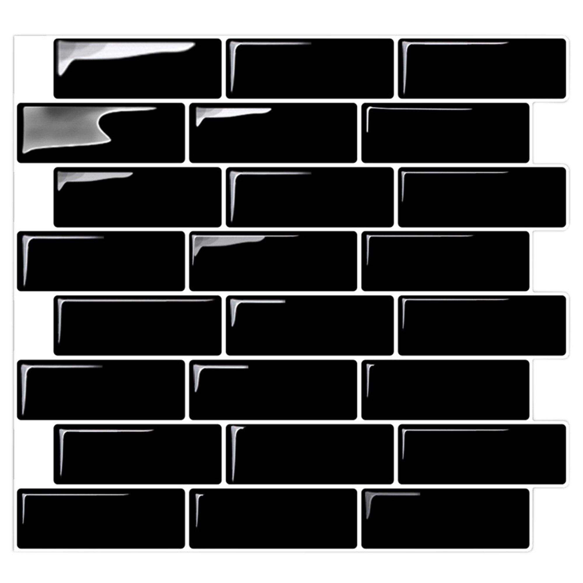 Self-Stick Removable Backsplash Tile Black | Peel and Stick Backsplash Kitchen and Bathroom | Stick On Vinyl Sticker Black Wall Tile - 10'' x 10.5'' (10-Sheets)