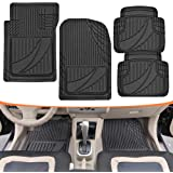 FlexTough Advanced Performance Mats - 4pc HD Rubber Floor Mats for Car SUV Auto All Weather Plus (Black)
