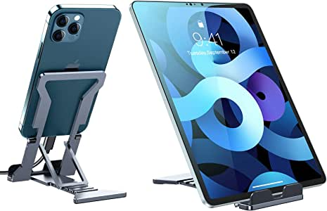 VICSEED Tablet Stand, [New Upgraded] Metal Fully Foldable Adjustable Phone Stand Compatible with New iPad 2020 Air 4 Mini 5 Pro 4, Galaxy Tabs, Kindle, iPhone 12 Pro Max 12 Mini 11 Pro Xs SE (4-13'')