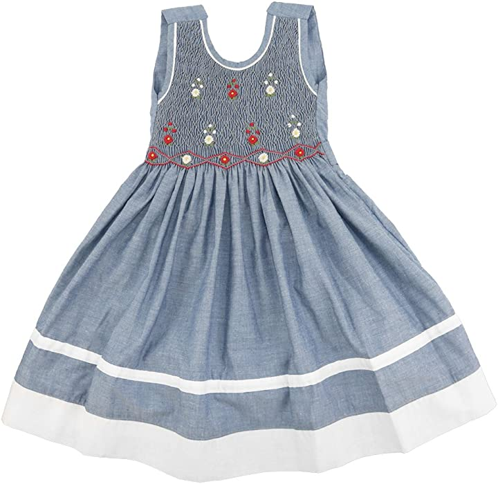 f00554c3b1f Girls Grey Sleeveless Smocked Dress with Hand Embroidered Floral Design On  Front. Back. Double-tap to zoom