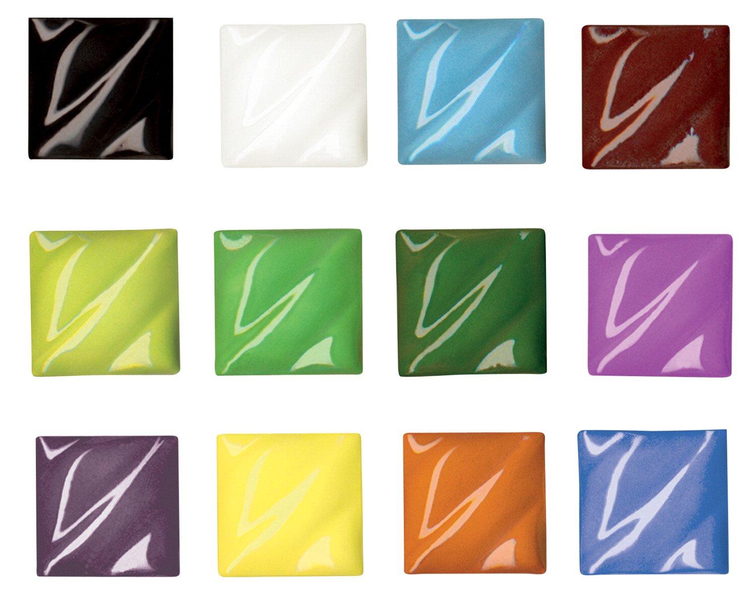 AMACO Liquid Non-Toxic Lead-Free Underglaze Set, 1 pt Bottle, Assorted Color, Set of 12