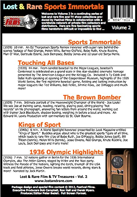 Amazon.com: Lost and Rare Film and TV Treasures: SPORTS IMMORTALS with